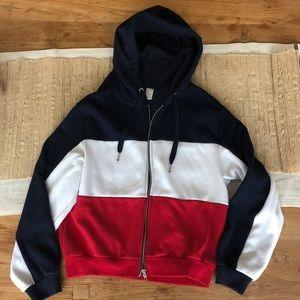 Divided block color zip up hoodie!